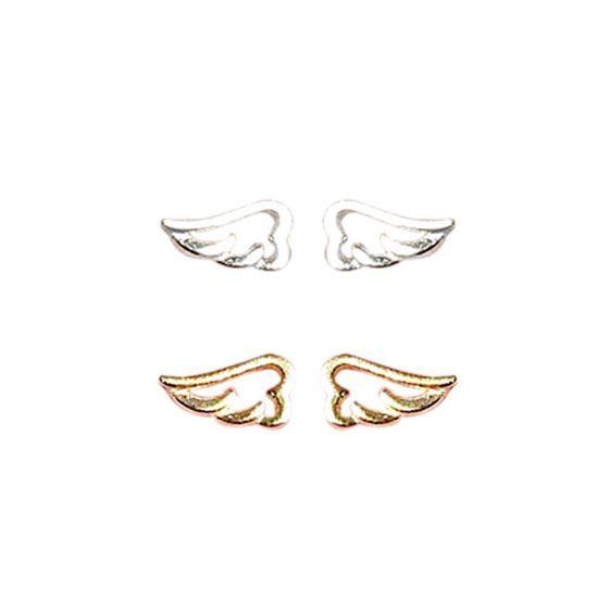 Mini Hollow Angel Wings 925 Sterling Silver Stud Earrings