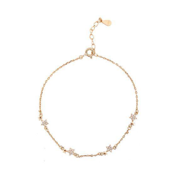 Girl Shining CZ Stars 925 Sterling Silver Bracelet
