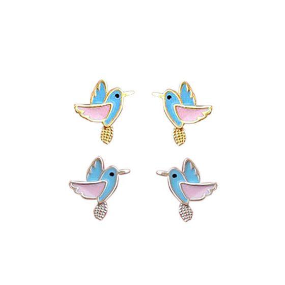 Cute Mini Flying Birds Animal 925 Sterling Silver Stud Earrings