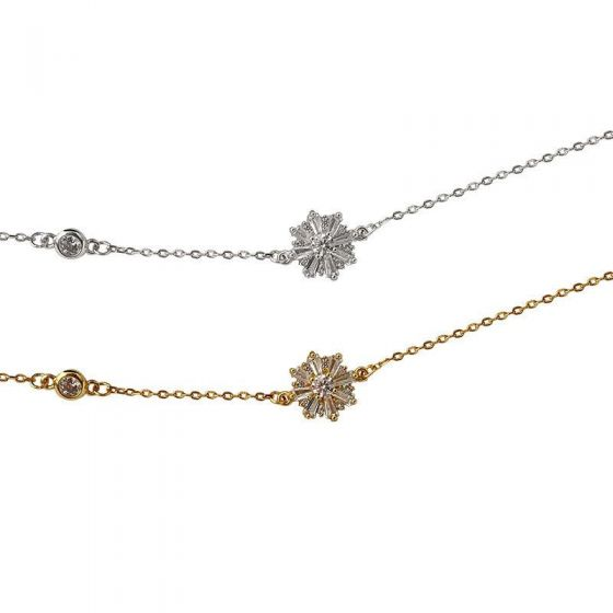 CZ Snowflake Casual 925 Sterling Silver Bracelet