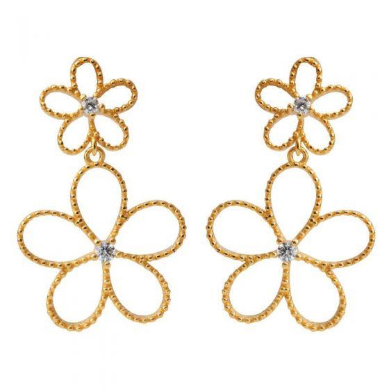 Beautiful Double CZ Hollow Flowers 925 Sterling Silver Stud Earrings