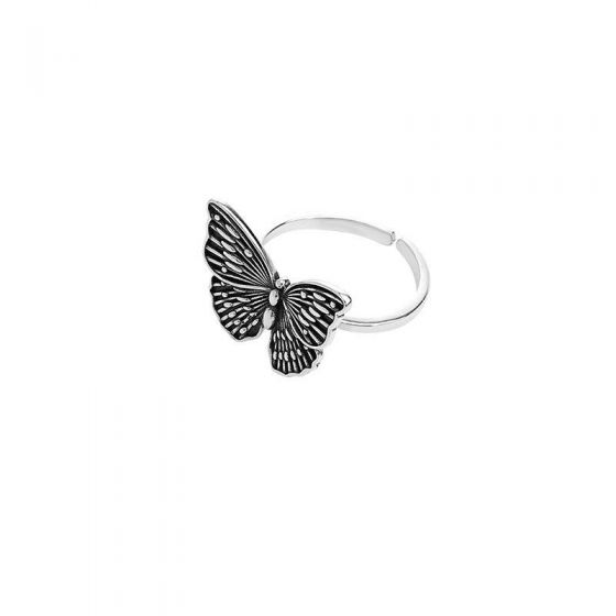 Vintage Flying Butterfly 925 Sterling Silver Adjustable Ring