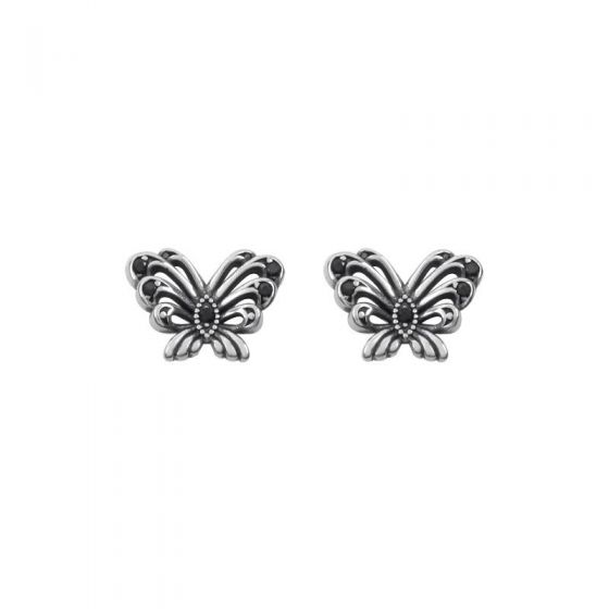 Mini Flying Butterfly 925 Sterling Silver Stud/Non-Pierced Earrings