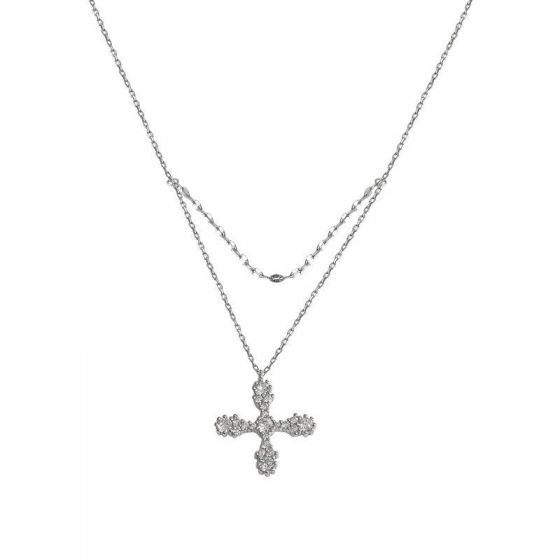 Office Double Layer CZ Cross 925 Sterling Silver Necklace