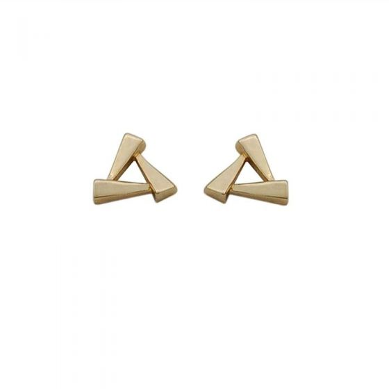 Geometry Mini Hollow Triangle Square 925 Sterling Silver Stud Earrings