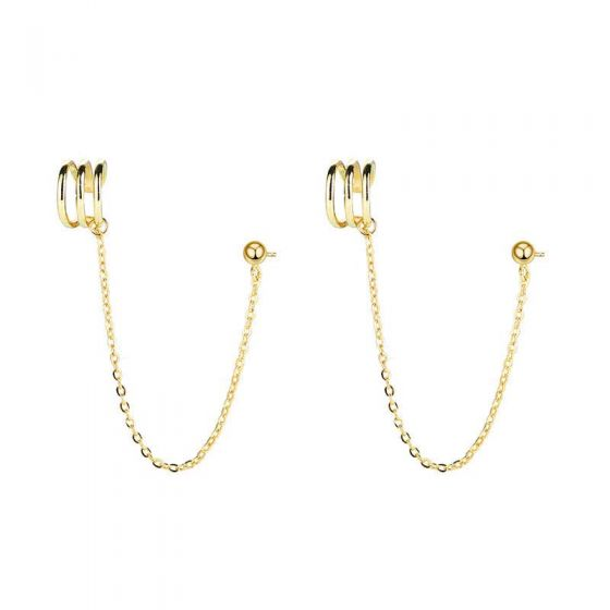 Fashion Beads Chain 925 Sterling Silver Dangling Earrings