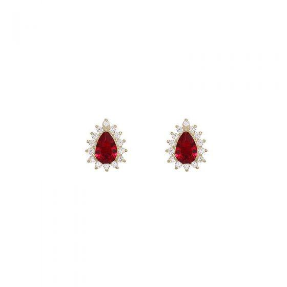 Elegant Red CZ Waterdrop 925 Sterling Silver Stud Earrings