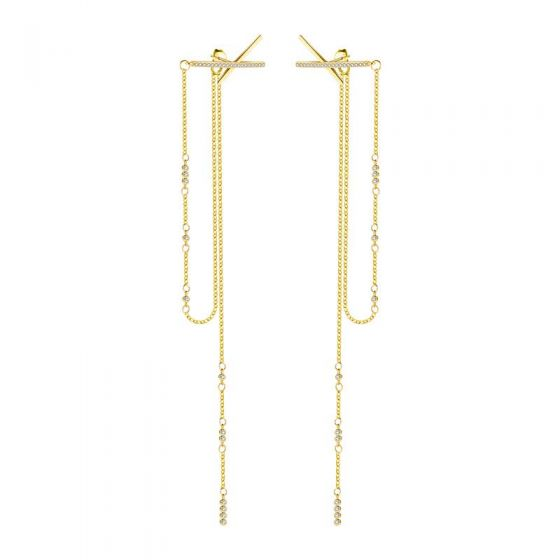 Elegant X CZ Chain Tassels 925 Sterling Silver Dangling Earrings