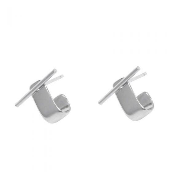 OT Shape Hook New 925 Sterling Silver Stud Earrings
