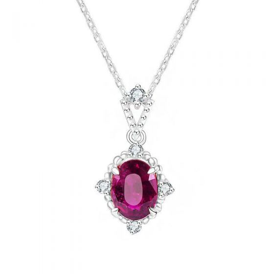 Vintage Exquisite Red Oval CZ 925 Sterling Silver Necklace