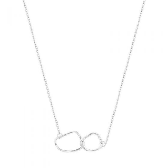 Geometry Irregular Double Circles 925 Sterling Silver Necklace