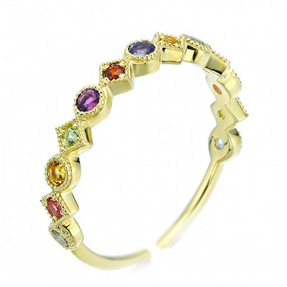 Colorful CZ Geometry 925 Sterling Silver Adjustable Ring