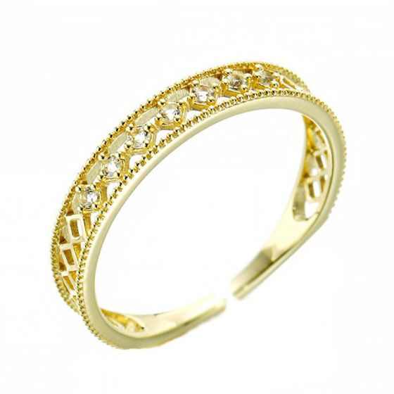 Women Hollow CZ 925 Sterling Silver Adjustable Ring