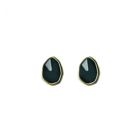 Irregular Black CZ Geometry 925 Sterling Silver Stud Earrings