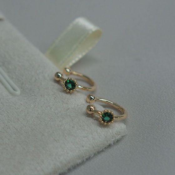 Simple Green CZ 925 Sterling Silver Non-Pierced Earrings