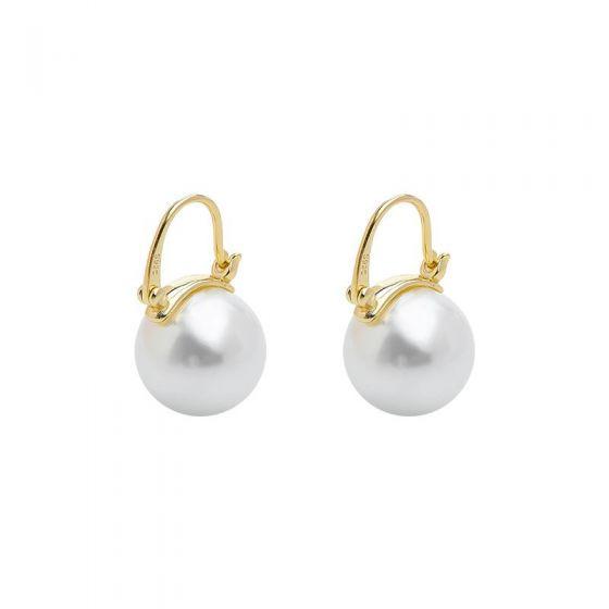 New Shell Pearl Created Garnet 925 Sterling Silver Hoop Earrings