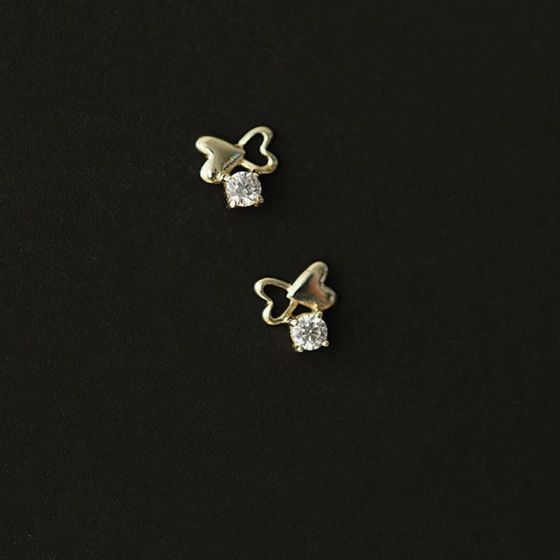 Mini CZ Hollow Heart 925 Sterling Silver Stud Earrings
