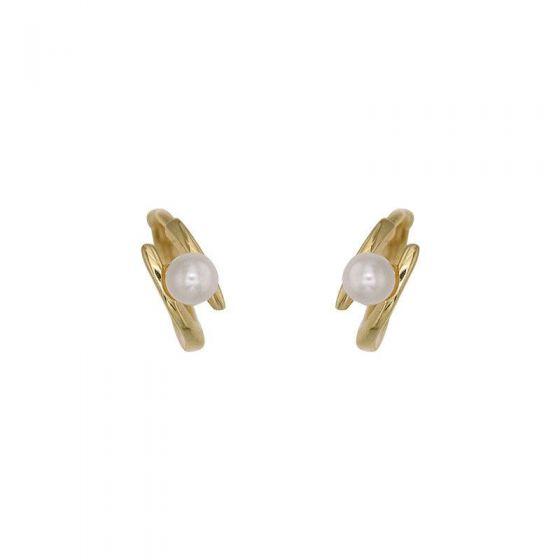 Fashion Shell Pearl 925 Sterling Silver Hoop Earrings