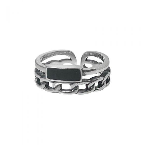 Vintage Double Layer Black Rectangle Chain 925 Sterling Silver Adjustable Ring