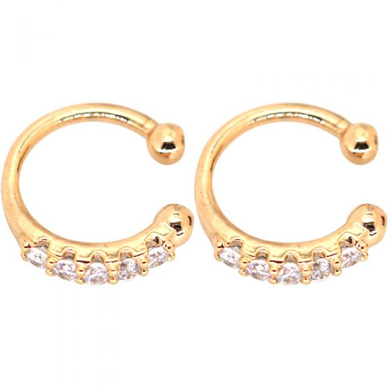 Fashion Round CZ 925 Sterling Silver Non-Pierced Earrings