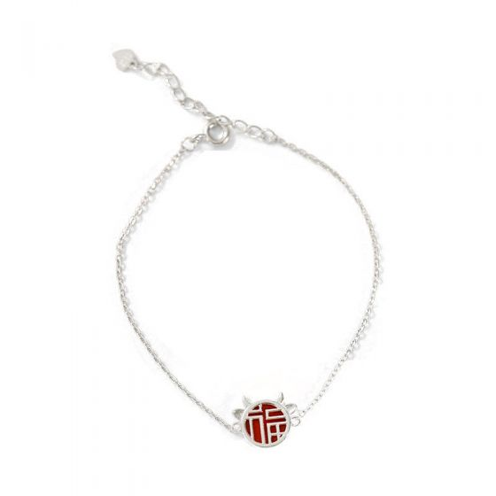 Holiday Fu Blessing Best Wish 925 Sterling Silver Bracelet