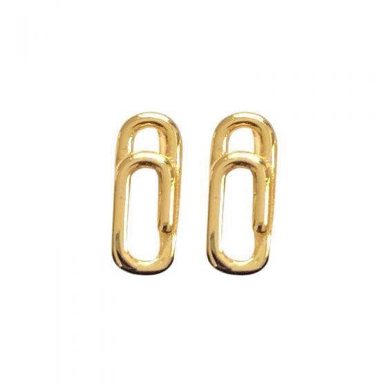 Geometry Mini Paper Clip 925 Sterling Silver Stud Earrings