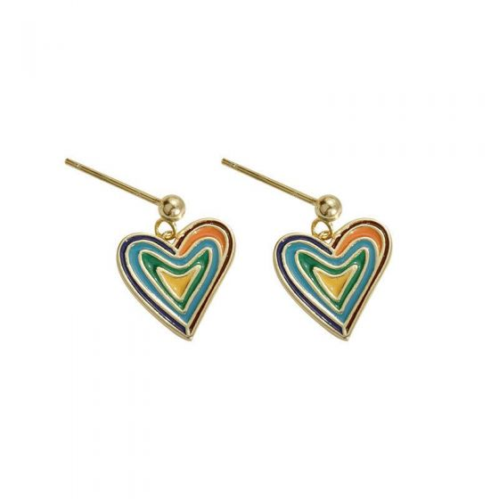 Holiday Colorful Abstract Heart 925 Sterling Silver Dangling Earrings