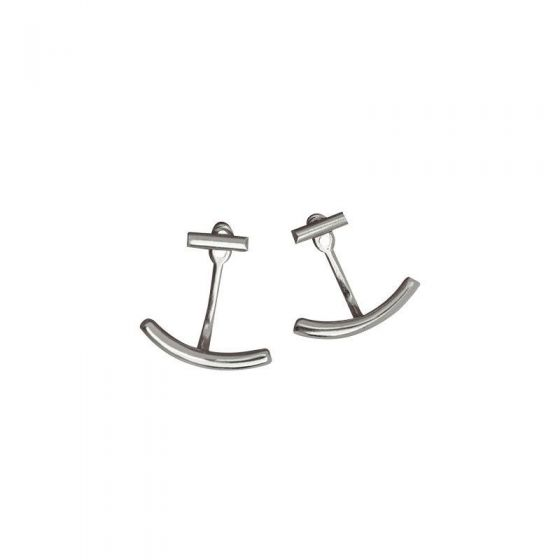Casual Arc Stick 925 Sterling Silver Stud Earrings