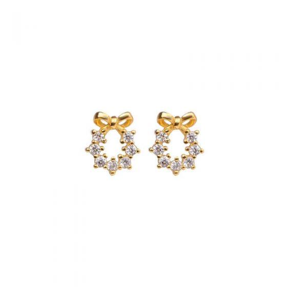 Sweet Bowknot CZ Garland 925 Sterling Silver Stud Earrings
