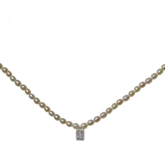 Elegant Natural Pearl CZ Chain 925 Sterling Silver Necklace