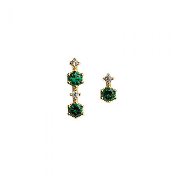 Asymmetry Green CZ Elegant 925 Sterling Silver Dangling Earrings