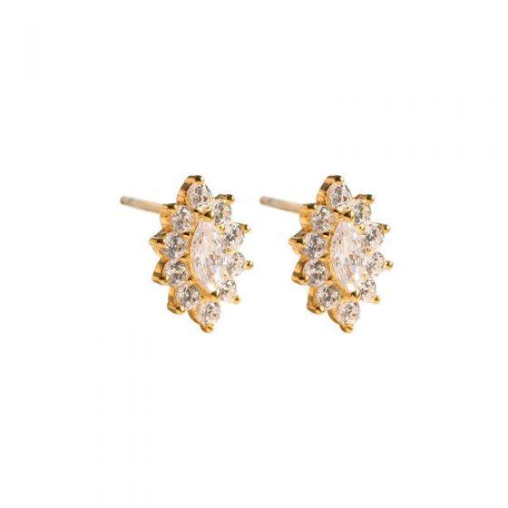 Beautiful Oval CZ Flower 925 Sterling Silver Stud Earrings