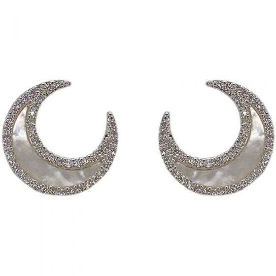 Sweet Natural Fritillaria CZ Crescent Moon 925 Sterling Silver Stud Earrings