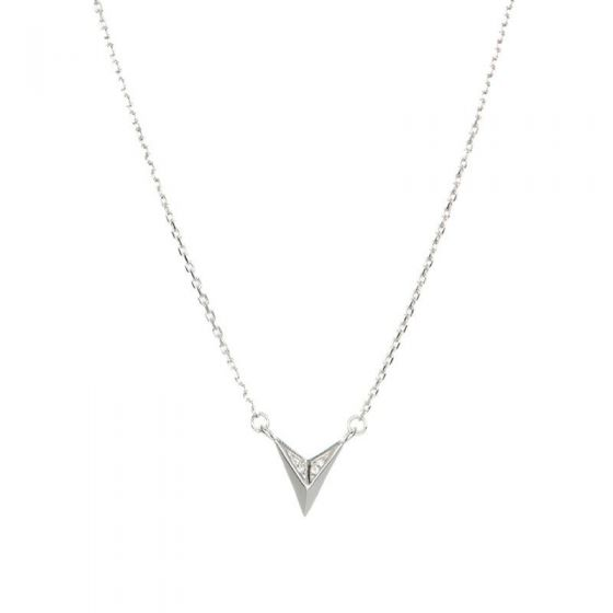 Geometry CZ Solid Triangle 925 Sterling Silver Necklace