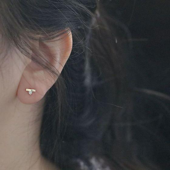 Simple Stick CZ 925 Sterling Silver Stud Earrings