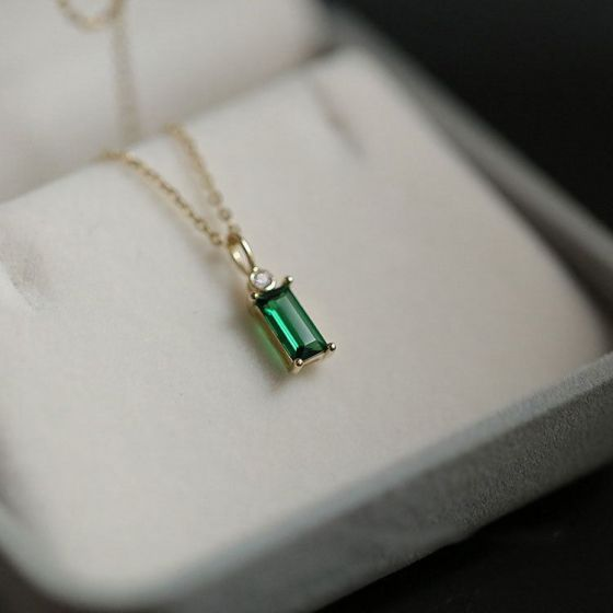 Geometry Baguette Green CZ 925 Sterling Silver Necklace