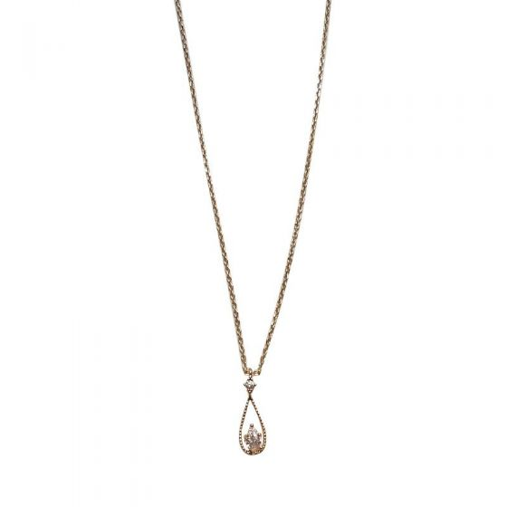 Elegant CZ Hollow Waterdrop 925 Sterling Silver Necklace