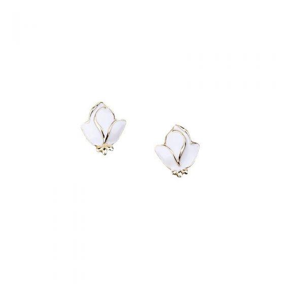 Elegant White Rose Flower 925 Sterling Silver Stud Earrings