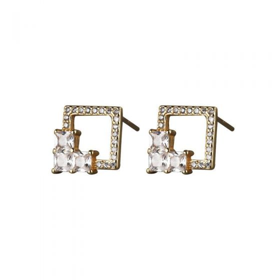 Geometry Hollow CZ Square 925 Sterling Silver Stud Earrings