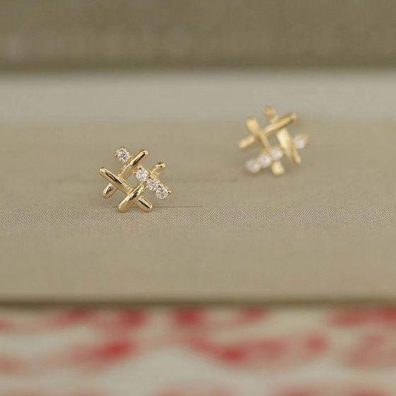 Modern CZ # Signs 925 Sterling Silver Stud Earrings