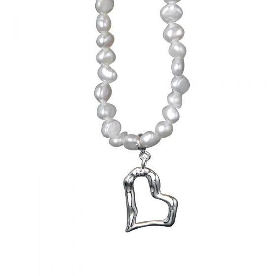 New Irregular Natural Pearls Heart 925 Sterling Silver Necklace