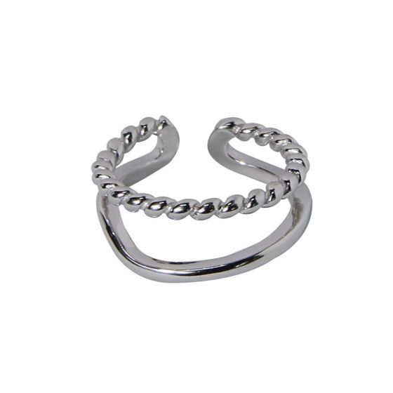 Simple Doule Layer Twisted 925 Sterling Silver Adjustable Ring