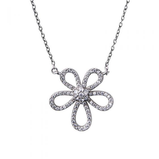 Sweet CZ Lilac Flower 925 Sterling Silver Necklace