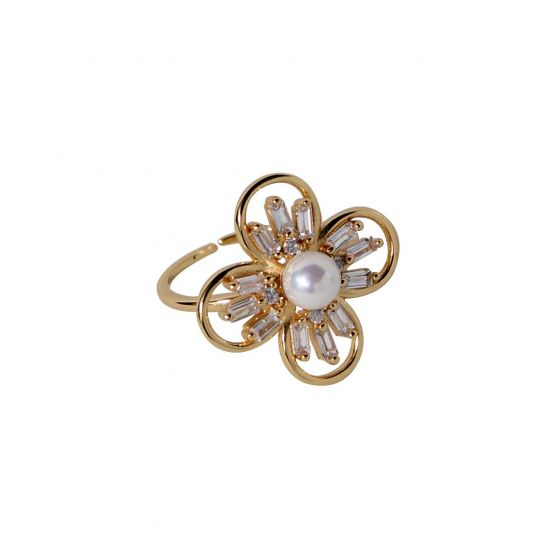 Beautiful Natural Pearl CZ Flower 925 Sterling Silver Adjustable Ring
