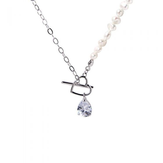 TO Heart CZ Waterdrop Irregular Pearls 925 Sterling Silver Necklace