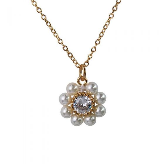 Modern CZ Shell Pearl Flower 925 Sterling Silver Necklace