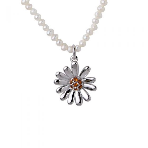New Daisy Flower Natural Pearls 925 Sterling Silver Necklace