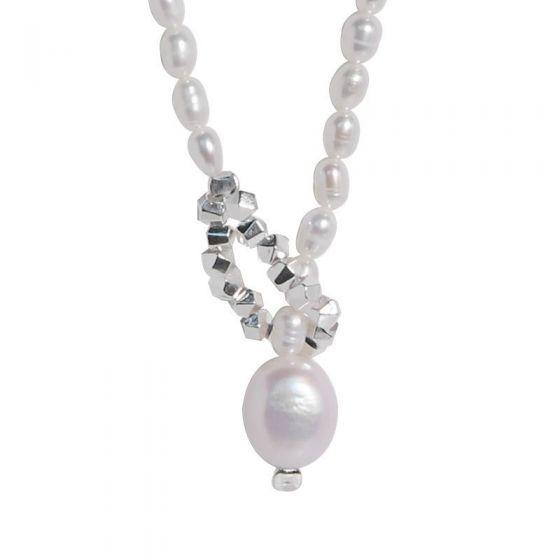 エレガントな不規則な天然真珠925スターリングシルバーネックレス
