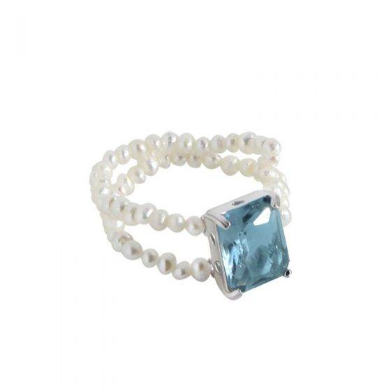 Geometry Blue CZ Rectangle Shell Pearl 925 Sterling Silver Ring