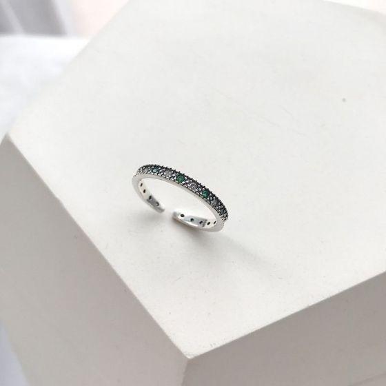 Vintage Green CZ 925 Sterling Silver Adjustable Ring